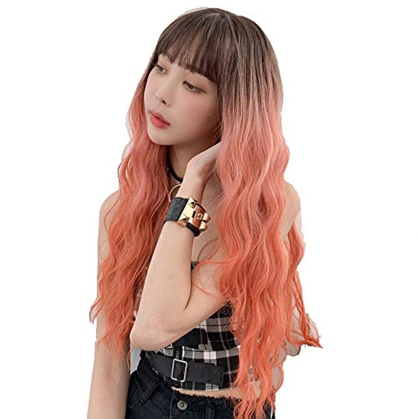 精査するの中で科学的SRY-Wigファッション ファッション波状ロングオレンジウィッグレースフロントバングウィッグ女性用合成レースヘアウィッグ26インチ耐熱コスプレウィッグ