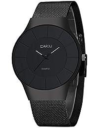 腕時計 メンズ 超薄型 ステンレス製のブレスレット 亜鉛合金ケース 日本製クォーツムーブメント 40mm黒色文字盤 30m生活防水 おしゃれ ビジネス 傷つきにくい 男女兼用 安い ブラック