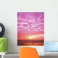 Pink Sunset over Heceta Wall Mural by Wallmonkeys Peel and Stick Graphic (18 in H x 14 in W) WM253571 [並行輸入品]