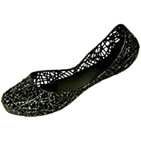 Shoes8teen Womens Slip On Ballet Flats Jelly Shoes W/Glitter Overlay