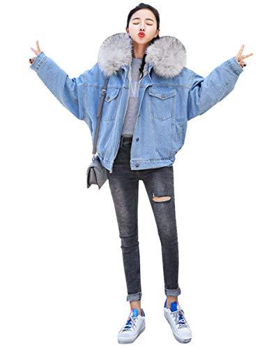 ブルゾン レディース ボアデニムジャケット おしゃれ 裏ボア ジージャン 厚手 防寒 コート ジージャン Gジャン アウター 防寒ブルゾン ジーンズ 女性用 大きいサイズ A90 (M)
