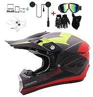 メンズレーシングモトクロスヘルメットスポーツフルフェイスヘルメットオートバイヘルメットBluetoothヘッドセットとアイマスクグローブを使用すると、大人用モトクロスブラック/レッド/イエロー,M