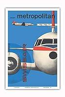 Convair Metropolitan (CV-440) - スイス航空 - ビンテージな航空会社のポスター によって作成された カート・ワース c.1956 - アートポスター - 31cm x 46cm