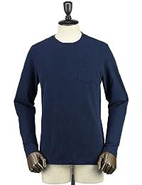 CIRCOLO1901 メンズ ストレッチコットン クルーネック ロングスリーブ ポケットTシャツ 7CU160614 BLU (ネイビー)
