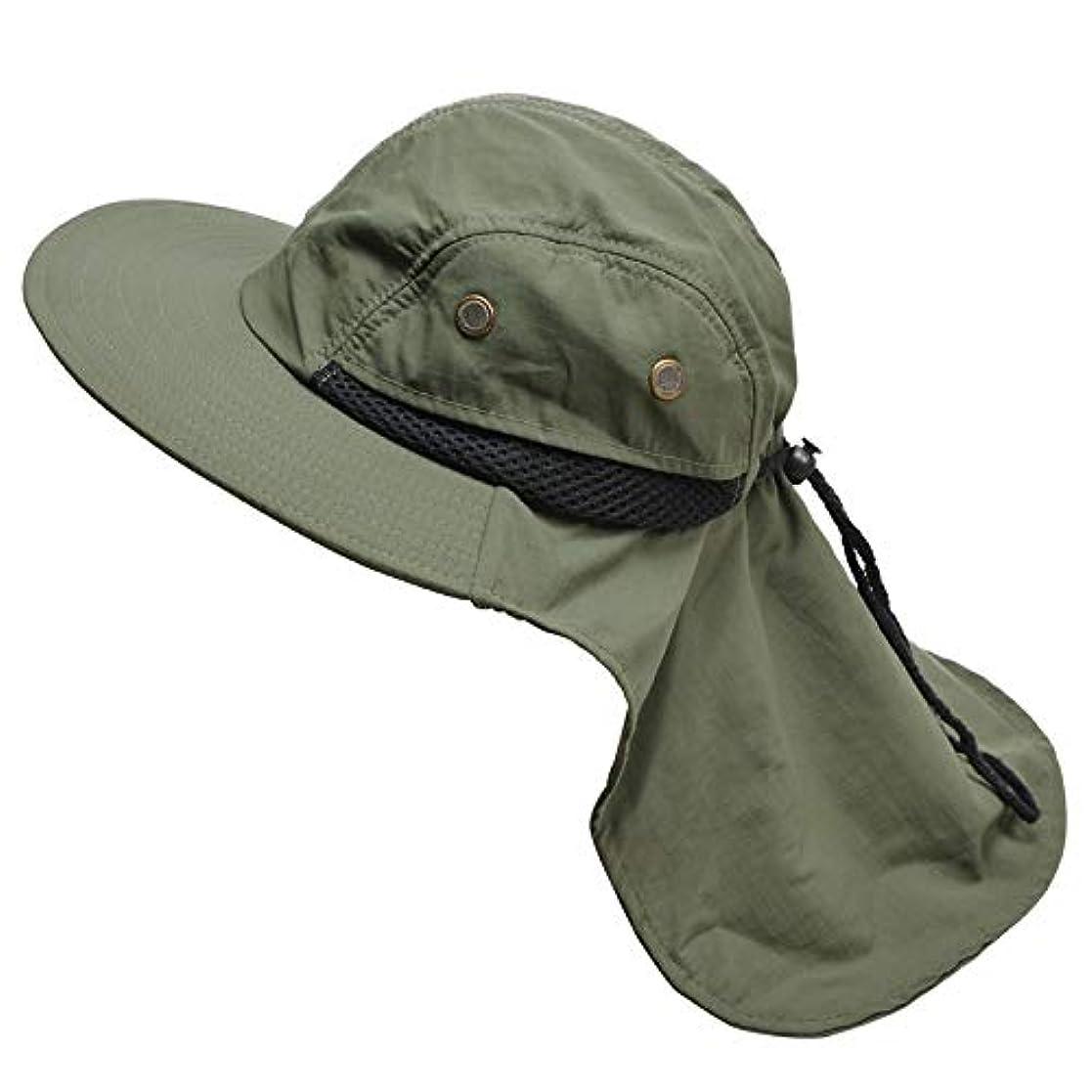 出費ランデブー刃サンキャップフラップ帽子ソーラープロテクション、ネックフラップ屋外 UV 保護大規模な広いつばハイキング釣りメッシュ 帽子