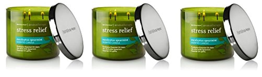 意志ストロークアレンジBath & Body Works , Aromatherapy Stress Relief 3-wick Candle、ユーカリスペアミント 3 Pack (Eucalyptus Spearmint)