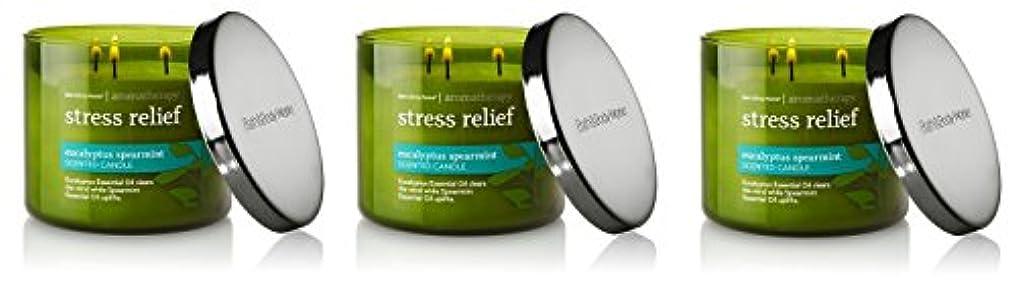 ウール投資ひどくBath & Body Works , Aromatherapy Stress Relief 3-wick Candle、ユーカリスペアミント 3 Pack (Eucalyptus Spearmint)
