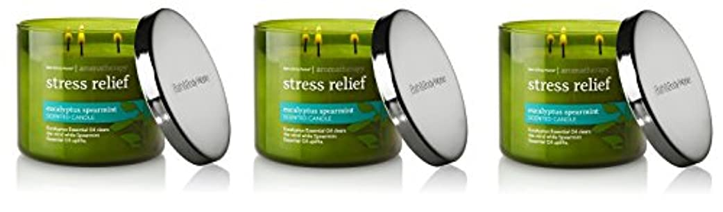 Bath & Body Works , Aromatherapy Stress Relief 3-wick Candle、ユーカリスペアミント 3 Pack (Eucalyptus Spearmint)