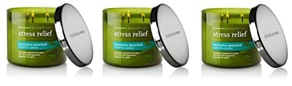 ポット昼寝バッフルBath & Body Works , Aromatherapy Stress Relief 3-wick Candle、ユーカリスペアミント 3 Pack (Eucalyptus Spearmint)