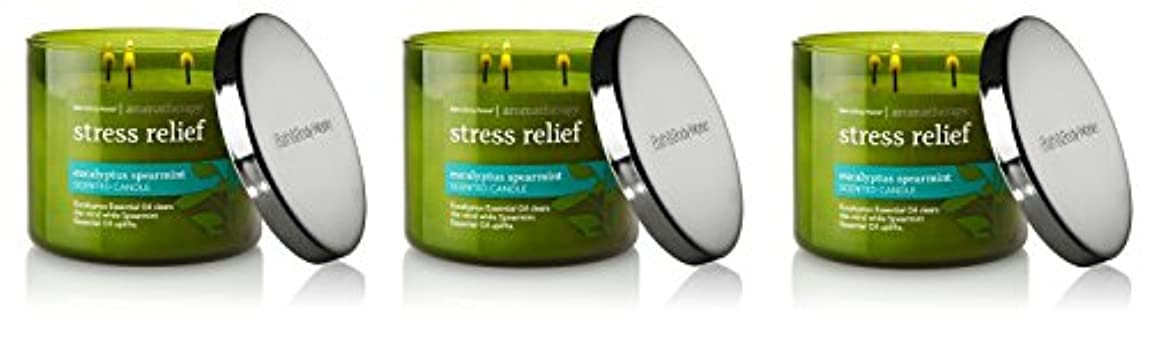 逃れる分ニュースBath & Body Works , Aromatherapy Stress Relief 3-wick Candle、ユーカリスペアミント 3 Pack (Eucalyptus Spearmint)
