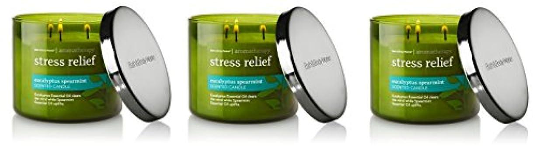 伝記集団的残酷Bath & Body Works , Aromatherapy Stress Relief 3-wick Candle、ユーカリスペアミント 3 Pack (Eucalyptus Spearmint)