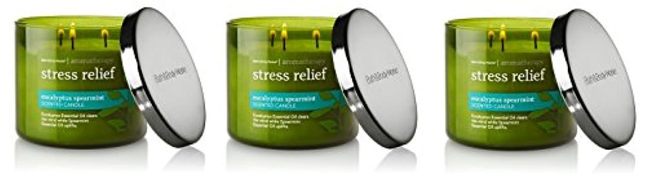 警報ファイナンストレイBath & Body Works , Aromatherapy Stress Relief 3-wick Candle、ユーカリスペアミント 3 Pack (Eucalyptus Spearmint)