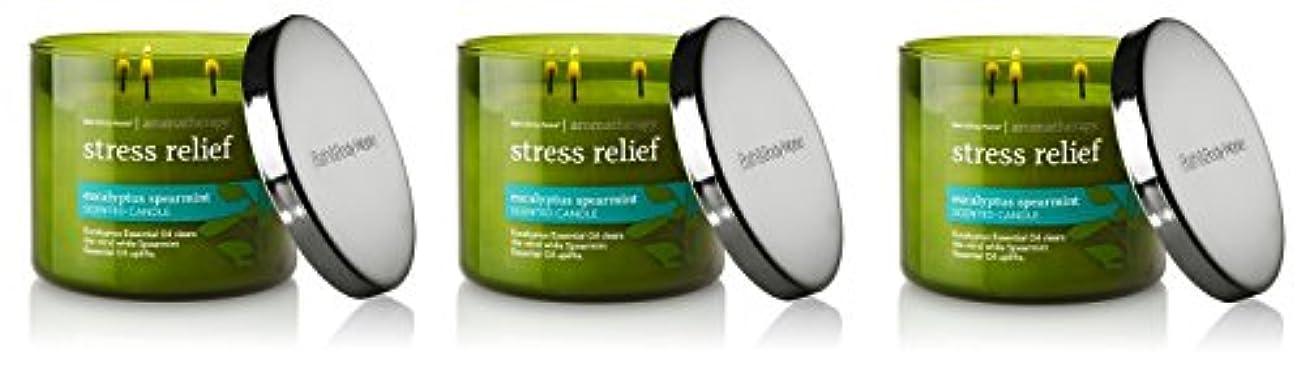 つらいリスト木製Bath & Body Works , Aromatherapy Stress Relief 3-wick Candle、ユーカリスペアミント 3 Pack (Eucalyptus Spearmint)