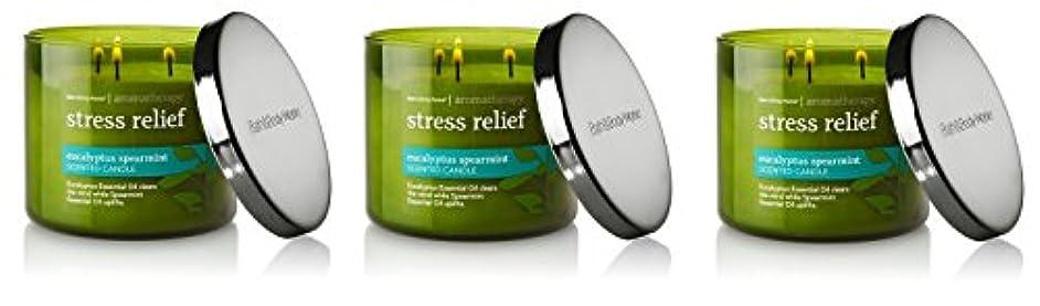 物思いにふけるおっと和Bath & Body Works , Aromatherapy Stress Relief 3-wick Candle、ユーカリスペアミント 3 Pack (Eucalyptus Spearmint)