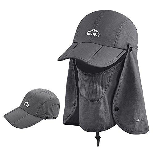 紫外線 帽子 日焼け 防止 帽子 UVカット 帽子 紫外線 対策 日焼け防止 【全8色】 3way フェイスカバー 付き Barsado (ダークグレー)