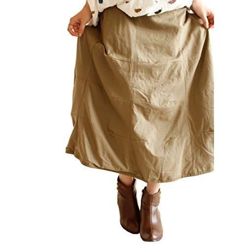 (Goldjapan)ゴールドジャパン 大きいサイズ 大きいサイズ レディース ウエストゴム コットン ロングスカート ミモレ丈 ゴム ロング丈スカート 体型カバー sw-0080 F(4L-5L) モカ