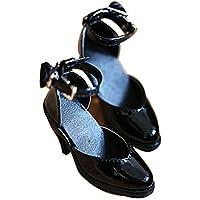 BJD人形 1/3 装飾 6色選ぶ ストラップ 太ヒール ポインテッド バックル ハイヒール 球体関節人形 靴 (ブラック)