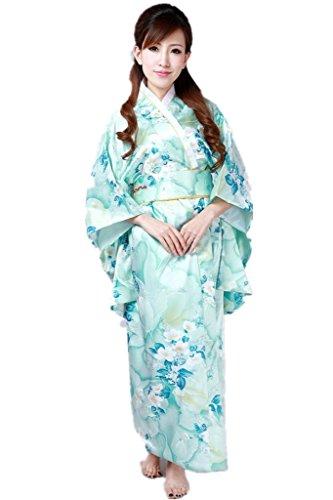 (上海物語)Shanghai Story スカイ?ブルー 花柄洗える着物と軽装帯(付け帯) 女性 ポリエステル・タフタ レディース和服 女性浴衣