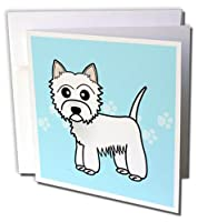 Janna Salak Designs Dogs – Cute Cartoonウエスト・ハイランド・テリア – Westie Dog onブルーPaw Prints – グリーティングカード Set of 12 Greeting Cards