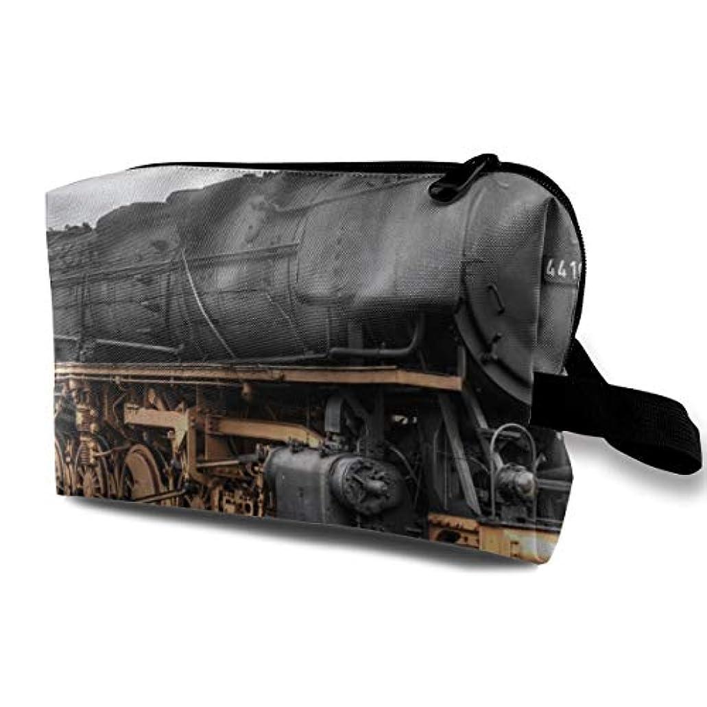ユーモアファシズム計算可能Vintage Old Train 収納ポーチ 化粧ポーチ 大容量 軽量 耐久性 ハンドル付持ち運び便利。入れ 自宅?出張?旅行?アウトドア撮影などに対応。メンズ レディース トラベルグッズ