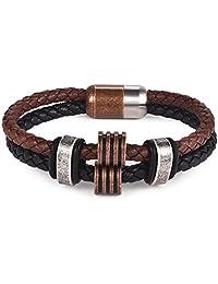 Jiayiqi Men's Braided Leather Bracelets Magnetic Clasp