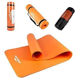 Soomloom ヨガ ピラティス マット トレーニングマット エクササイズマット 厚み約10mm ニトリルゴム (オレンジ)