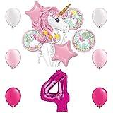 マジカルユニコーン 誕生日パーティーバルーンバンドル 4歳用 バルーン13個付き