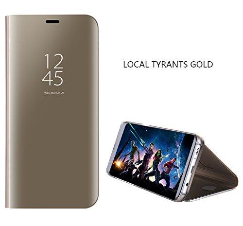Liebeye 携帯電話保護ケース ファッション モダン 電気メッキミラー クリアビュースタンド Samsung Galaxy S8用 保護ケース カバー ゴールド S8 PLUS