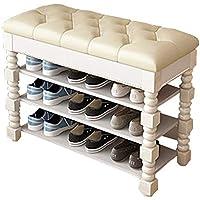 ソリッドウッドシューズラックシンプルな家庭用多層は靴のベンチシューズキャビネットの塵のドアヨーロッパのストレージスツールに座ることができます (色 : A, サイズ さいず : 35cm*60cm*53.5cm)