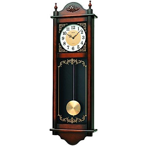 セイコー クロック 掛け時計 アナログ 報時選択式 チャイム&ストライク 長尺 飾り振り子 アンティーク調 木枠 茶 木地 RQ307A SEIKO