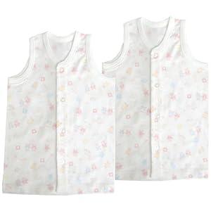ベビーストーリー 2枚組 フライス総柄プリント 前開きランニングシャツ 70cm ピンク KT15703 日本製
