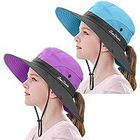 2 Pieces 5-14Y Kids Summer Sun Hat Wide Brim UV Protection for Girls Ponytail Beach Bucket Cap