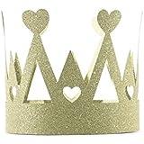 Crafty Capers 小さなゴールドグリッターカード 王冠 パーティーハット ハートデザイン