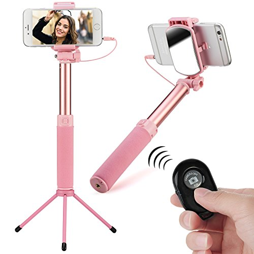 YIEASY 自撮り棒 有線/Bluetooth兼用 (三脚/一脚) 多機能セルフィースティック スマホ無線セルカ棒 折りたたみ 360度回転 携带便利 ワイヤレスリモコン/ミラー/電池付き iPhone/Android対応 アルミ合金 (ピンク)
