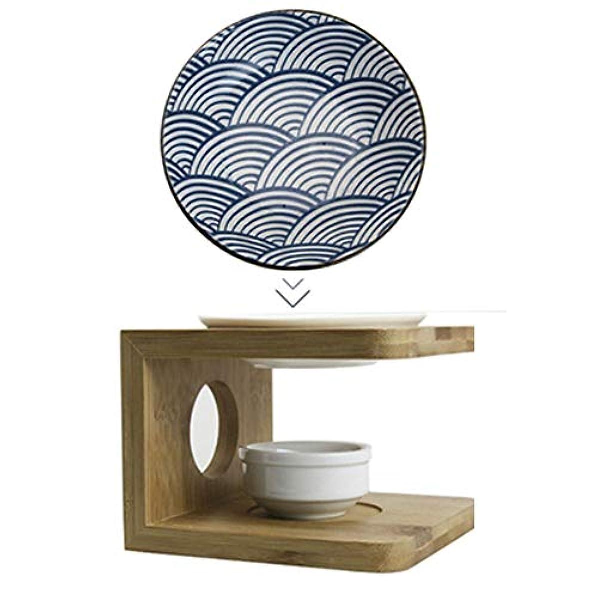 わなモザイク指導するお換えのお皿 青いお皿茶香炉 陶器茶香炉 茶こうろ 茶 インテリア アロマディフューザー 精油和風 アロマ リビング セット (ブルー)