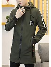 Fly Year-JP メンズ秋フルジップロングスリーブライトフードロングジャケットコート