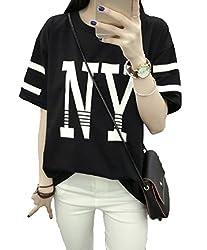 【Smile LaLa】 レディース ビッグ オーバー ティーシャツ 大きい ゆったり 半袖 トップス NY ロゴ ライン 入り スポーティ (XL, ブラック)