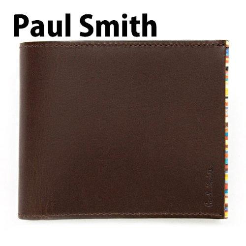 ポールスミス Paul Smith 財布 二つ折り財布 メンズ レザー 本革 ブラウン×マルチストライプ PSU055-390 [ウェア&シューズ]