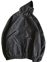 maweisong フード付きの軽量薄太陽保護ジャケットメンズ