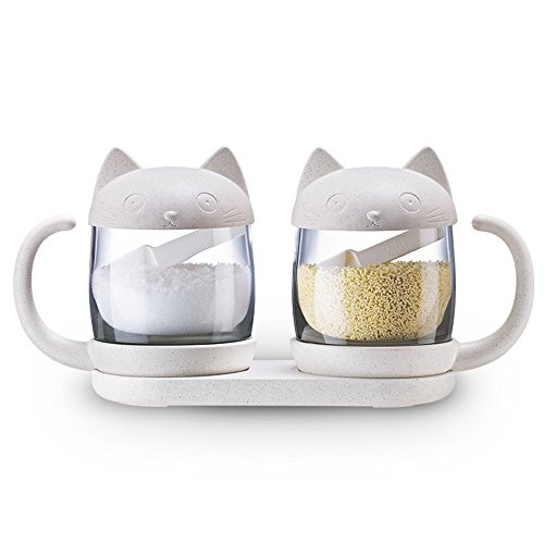 [해외]Anyasun 조미료 넣고 조미료 케이스 고양이 형 2 개 세트 조미료 병 스파이스 랙 소금 후추 설탕 그릇 병 저장 용기 숟가락 넣기 가정용 주방 (Ays-H005)/Anyasun seasoning seasoning case cat type 2 piece set seasoning bottle spice rack salt ...