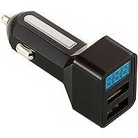 LED USB カーチャージャー 車載充電器 USB充電器 2ポートタイプ 3.1A 急速充電 スマホ タブレット シガーソケットチャージャーAndroid iPhone用 (ブラック-シルバー)