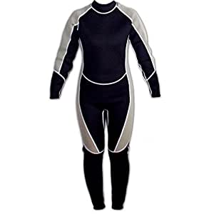 BeryKoKo ウェットスーツ 3mm ネオプレーン フルスーツ 長袖 マリンスポーツ 全般 大型 ジッパー 採用 (ブラック & グレー, XS) 正規品/30日間保証