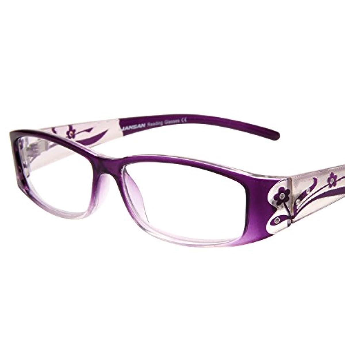 代名詞社交的管理する(レンサン) LianSan老眼鏡 女性 レディース フルリム スクエア おしゃれな リーディンググラス シニアグラス 老眼鏡 L3711 クリアパープル +3.00