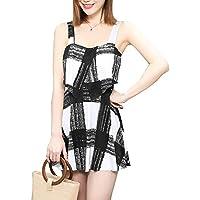 RONSHIN Bikini for Women Fashion Sweet Plaid Printing Dress Style One-Piece Bikini