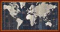 ポスター アーティスト不明 Old World Map Blue 額装品 ウッドハイグレードフレーム(ナチュラル)