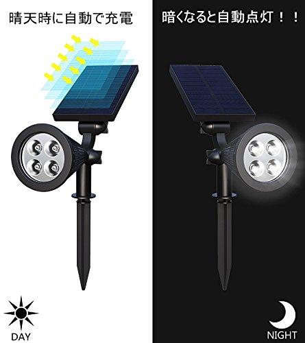 ガーデンライト(第三世代)4LEDソーラーライトHolan防水電池不要夜間自動点灯屋外の歩道/車道/芝生/庭などの照明用(2点セット)