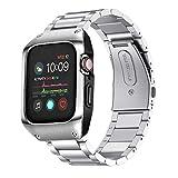 VICARA Compatible with Apple Watch 5 バンド series 5/4 44mm 保護ケース 一体式 傷防止 アップルウォッチ 5 バンド 44mm ステンレス スチール ビジネス風 調整工具付き(シルバー+ケース)