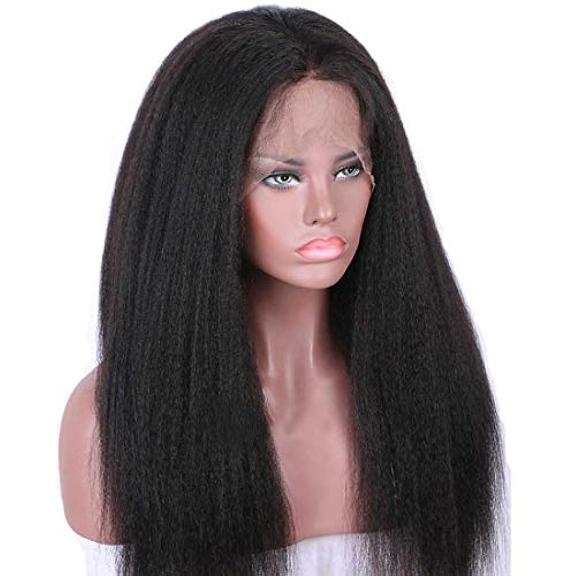 雑品何でもキャラバンウィッグ つけ毛 フロントレース合成ロングストレートウィッグセット、ブラック女性ウィッグ、高温ファイバーウィッグ (色 : 黒)