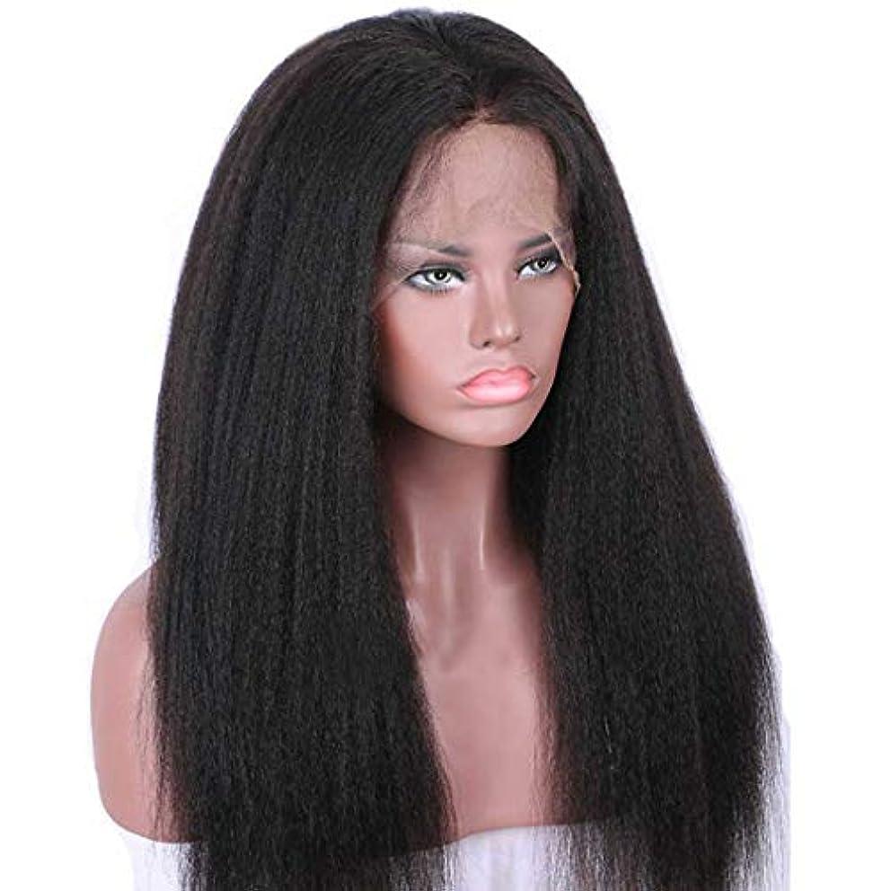 バンケット遅いティッシュウィッグ つけ毛 フロントレース合成ロングストレートウィッグセット、ブラック女性ウィッグ、高温ファイバーウィッグ (色 : 黒)