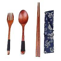 天然木製食器セット 箸・フォーク・スプーン・箸袋4点セット 和風 携帯便利 お弁当・旅行・キャンプ・ハイキング・出張などに適用 Styleshow